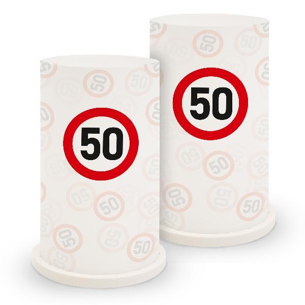 itenga Windlicht Verkehrsschild 50 für Geburtstag Tisc...