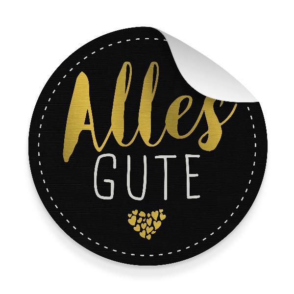 itenga 10x Aufkleber Sticker ALLES GUTE Schwarz Goldfoli...