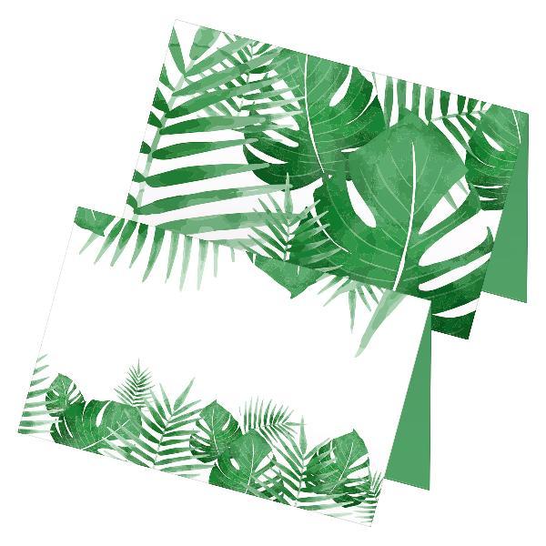 itenga 24x Tischkarten Platzkarten Blätter grün floral...