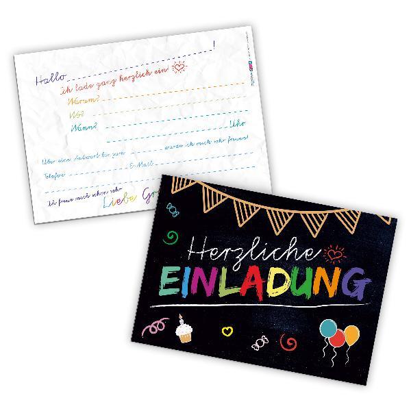 itenga 12 x Postkarte Einladung Tafel Geburtstag Schul...