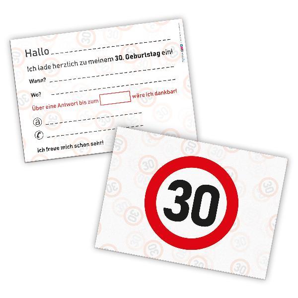 itenga 12 x Postkarte Einladung Verkehrszeichen 30 Geb...