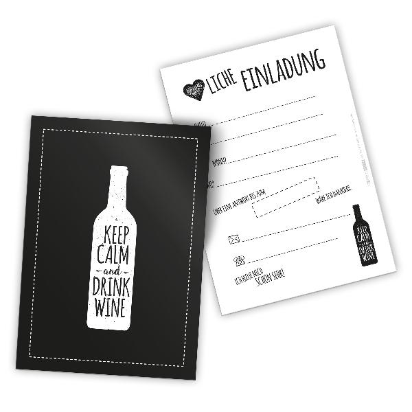 itenga 12 x Postkarte Einladung Keep calm and drink win...