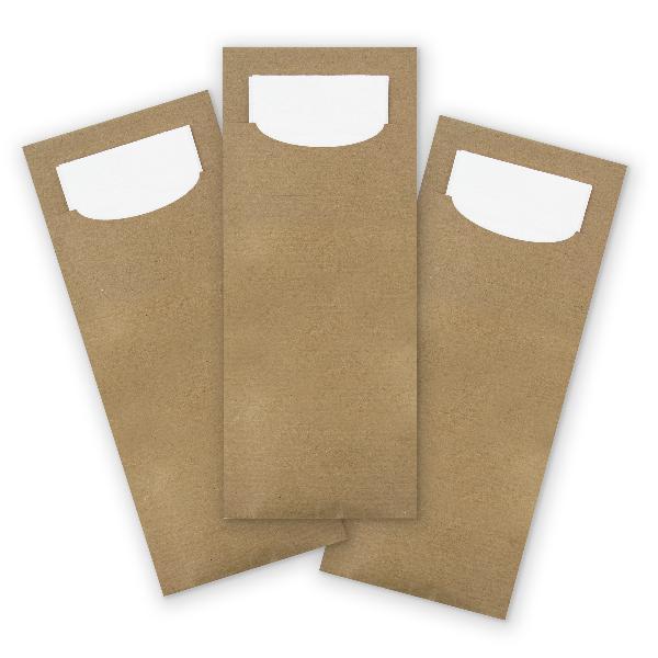itenga 24x Bestecktasche aus Papier Kraftkarton Einweg m...