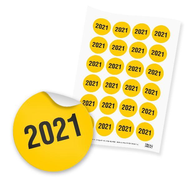 itenga 24x Sticker Jahreszahl 2021  (Motiv 114) gelb sch...
