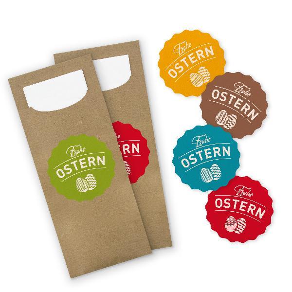 itenga 24x Bestecktasche braun + Aufkleber Frohe Ostern