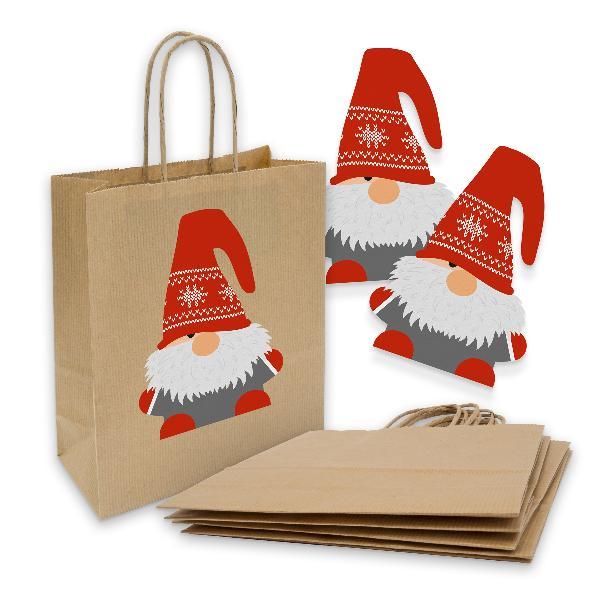 itenga 5x Geschenktüte mit Kordel 18x8x22cm + Sticker Wi...