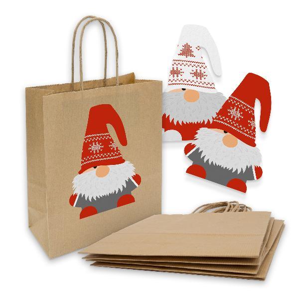 itenga 10x Geschenktüte mit Kordel 18x8x22cm +Sticker Wi...