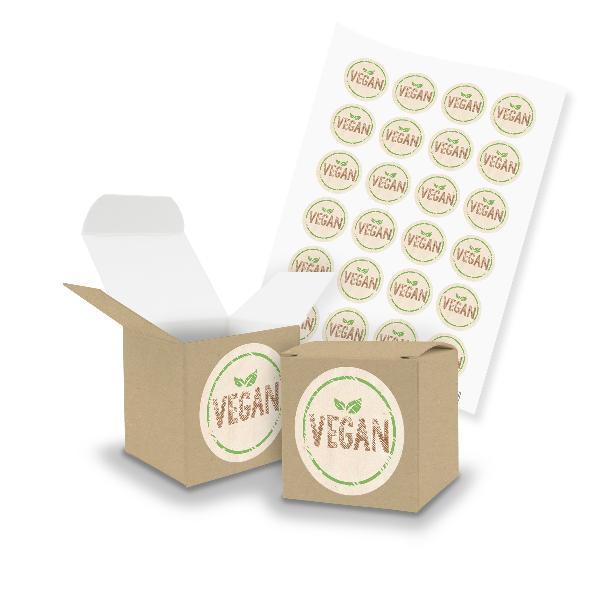itenga SET Vegan (Motiv112) 24x Würfel 5cm braun + Sti...