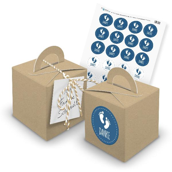 itenga 24x Würfelbox mit Griff braun + Garn beige (V29) ...