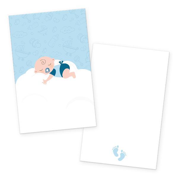 itenga 24x Kärtchen Baby auf Wolke hellblau pastell in...