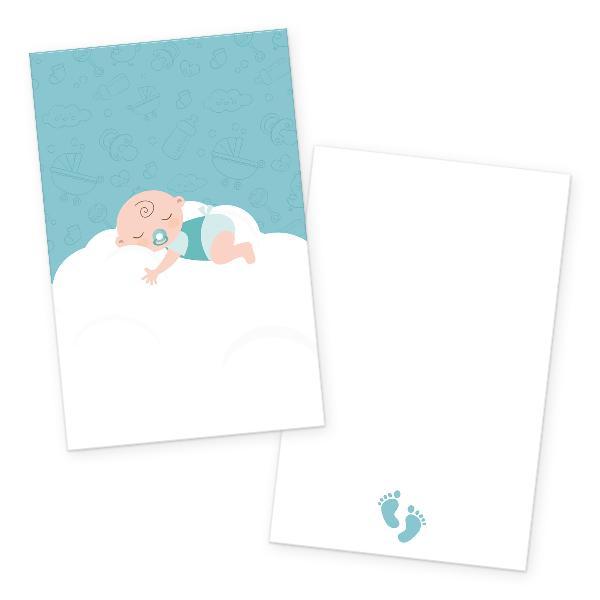 itenga 24x Kärtchen Baby auf Wolke mintgrün pastell in...
