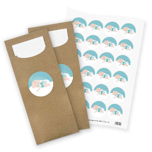 itenga 24x Bestecktaschen + Stickerbogen Baby auf Wolke...