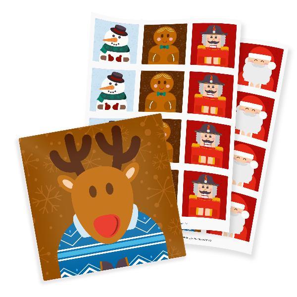 itenga 24x Sticker Weihnachtsbande quadratisch 61 x 61 mm