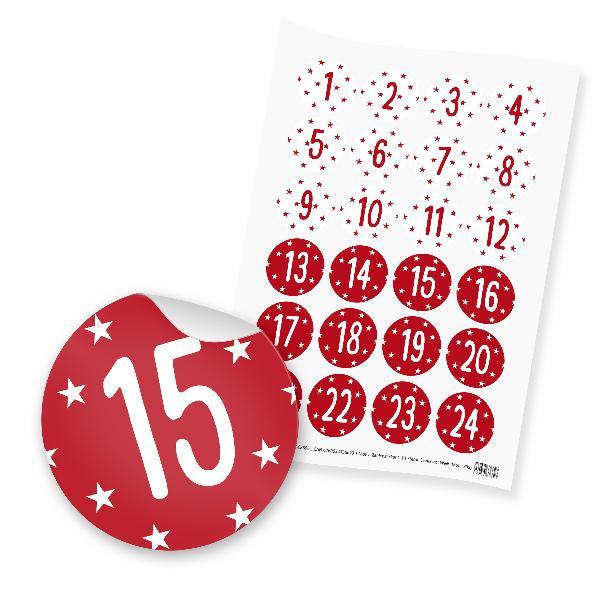 itenga 24x Zahlensticker Z39 Sterne 1-24 Dunkelrot / Weiß