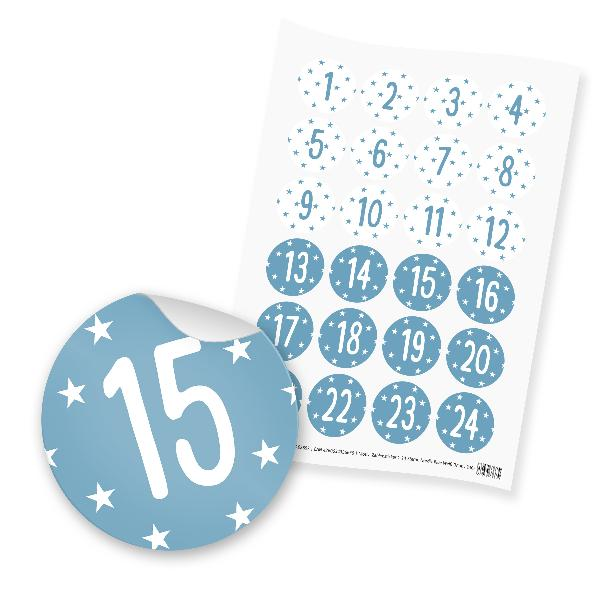 itenga 24x Zahlensticker Z40 Sterne 1-24 Nordic Blue / Weiß
