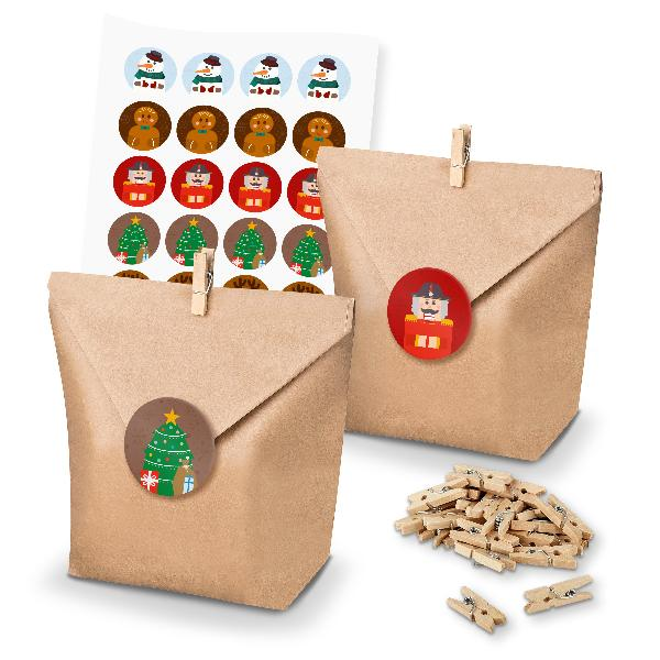 itenga SET Geschenktüten 24x Tüten + Klammern + Sticker ...