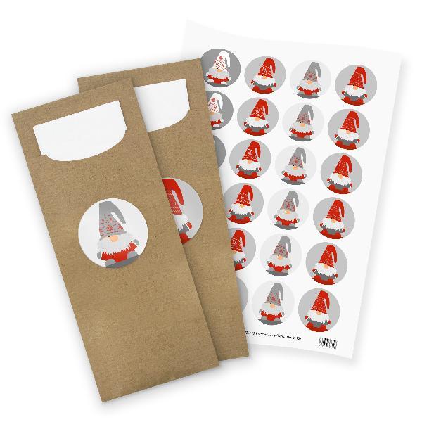 itenga 24x Bestecktaschen + Stickerbogen Wichtelbande (M...