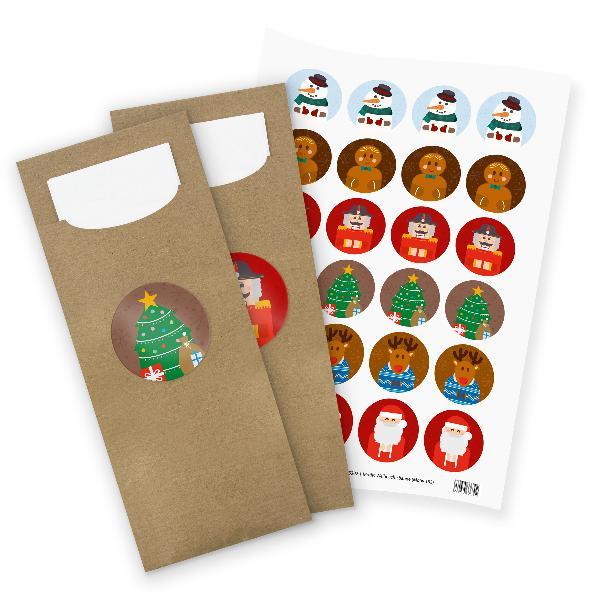 itenga 24x Bestecktaschen + Stickerbogen Weihnachtsbande...