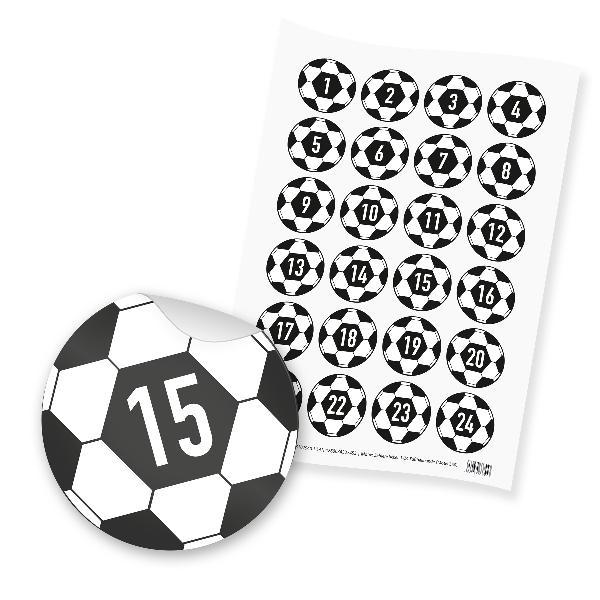 itenga 24x Zahlensticker Z50 Fußballbande 1-24 Schwarz Weiß