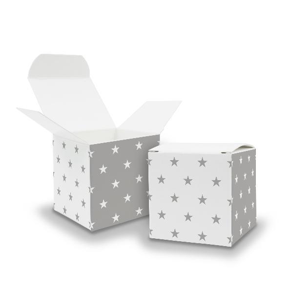 25x itenga Würfelbox aus Karton 6,5x6,5cm Muster Sterne
