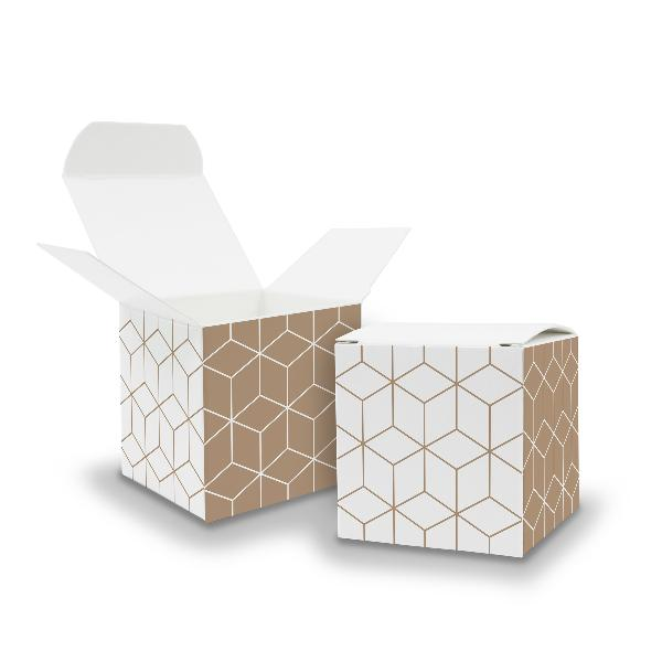 25x itenga Würfelbox aus Karton 6,5x6,5cm Muster Geometrie