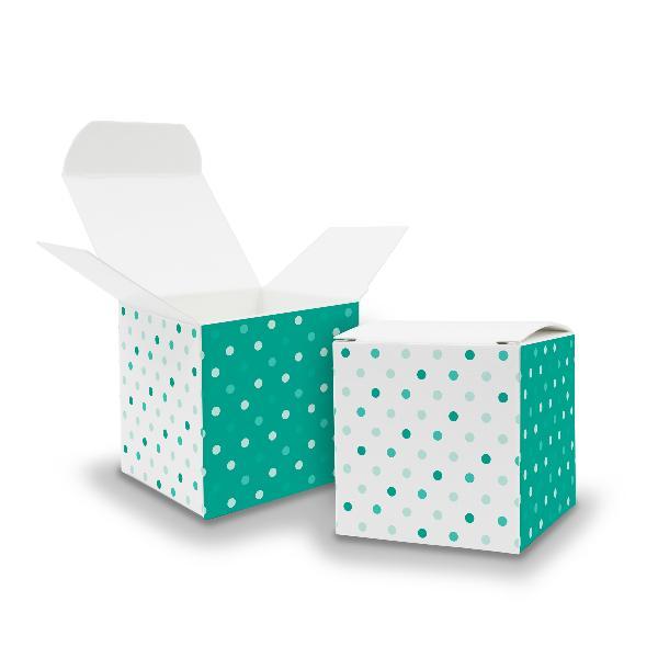 25x itenga Würfelbox aus Karton 6,5x6,5cm Muster Punkte