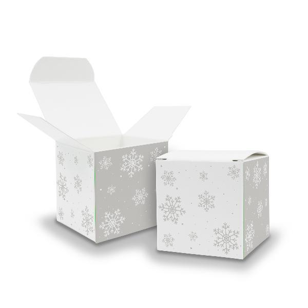 25x itenga Würfelbox aus Karton 6,5x6,5cm Muster Schneef...