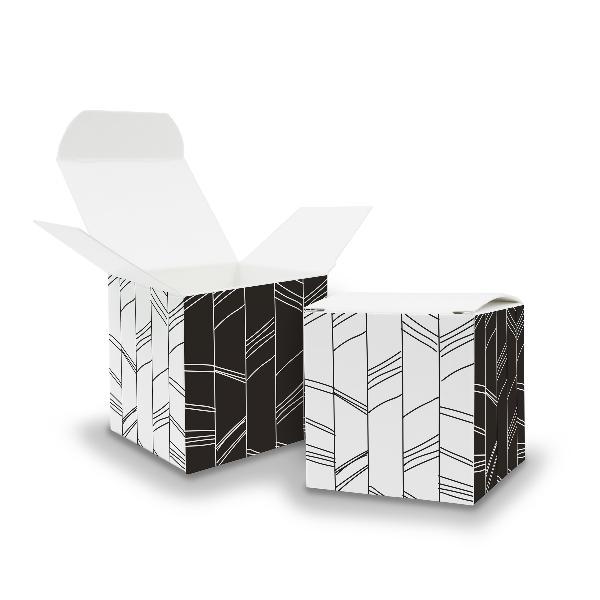 10x itenga Würfelbox aus Karton 6,5x6,5cm Muster Abstrakt