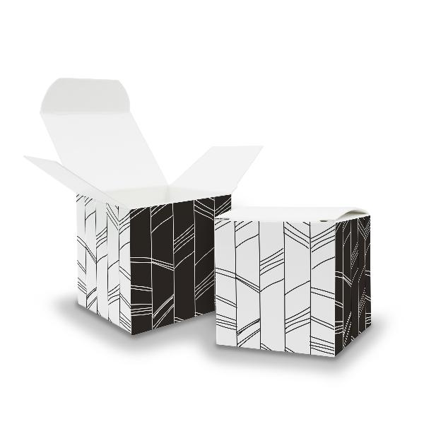 25x itenga Würfelbox aus Karton 6,5x6,5cm Muster Abstrakt