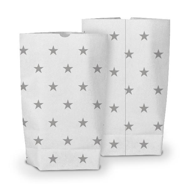 50x itenga Geschenktüte bedruckt 17x26cm Muster Sterne