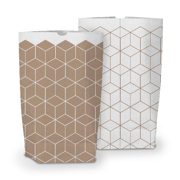 50x itenga Geschenktüte bedruckt 17x26cm Muster Geometrie