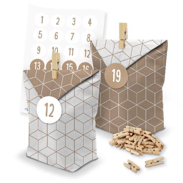 itenga SET Adventskalender 24 x Tüten Geometrie + Klamme...