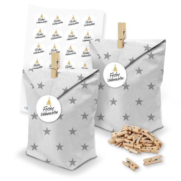 itenga SET Geschenktüten 24 x Tüten Sterne + Klammern + ...