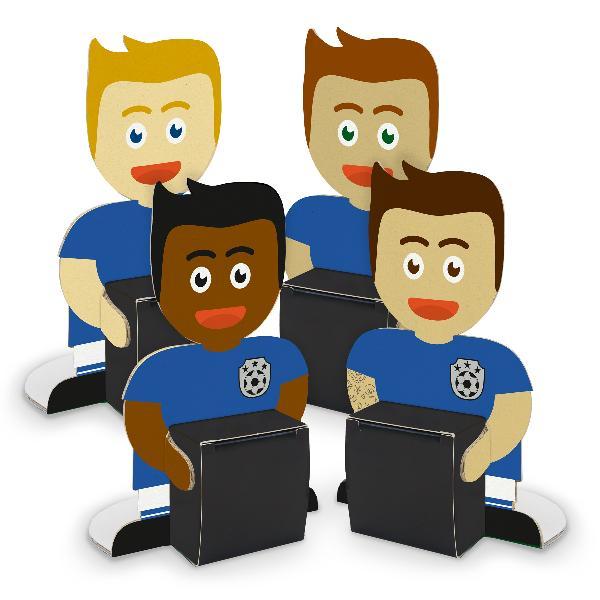 itenga Fußballbande Blau Weiß 4x Figuren zum Aufstellen ...