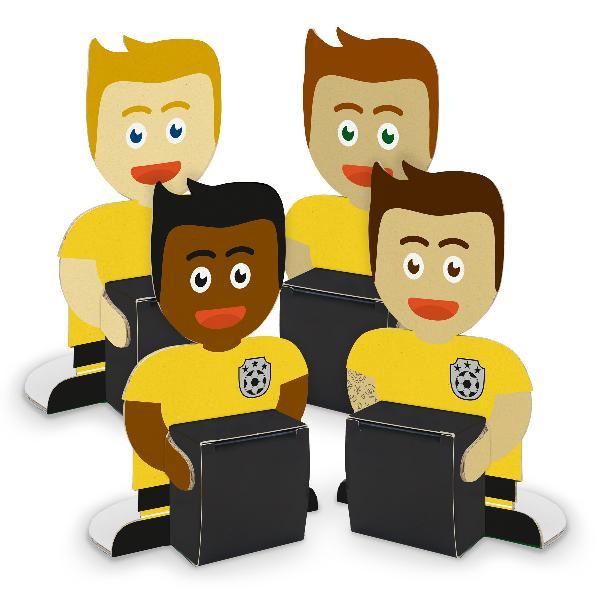 itenga Fußballbande Gelb Schwarz 4x Figuren + 4x Würfelb...