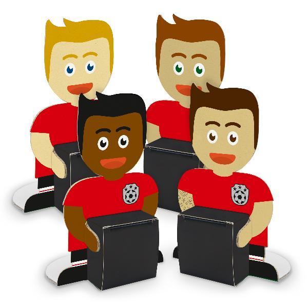 itenga Fußballbande Rot Schwarz 4x Figuren + 4x Würfelbo...