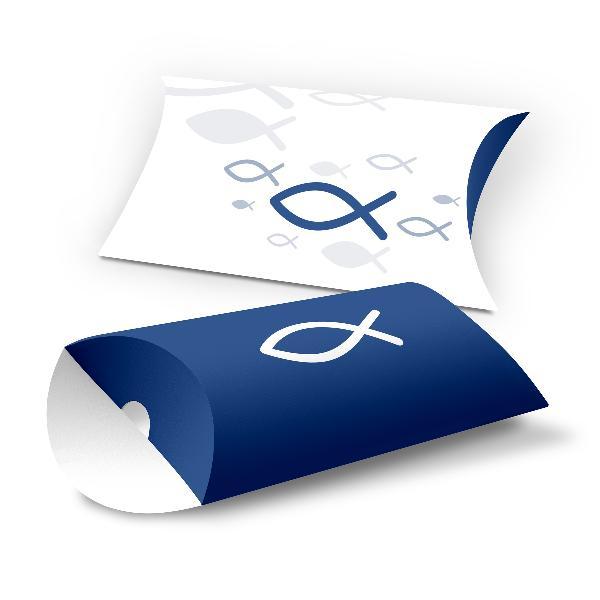 itenga 10x Geschenkverpackung Fisch blau Kissenverpack...
