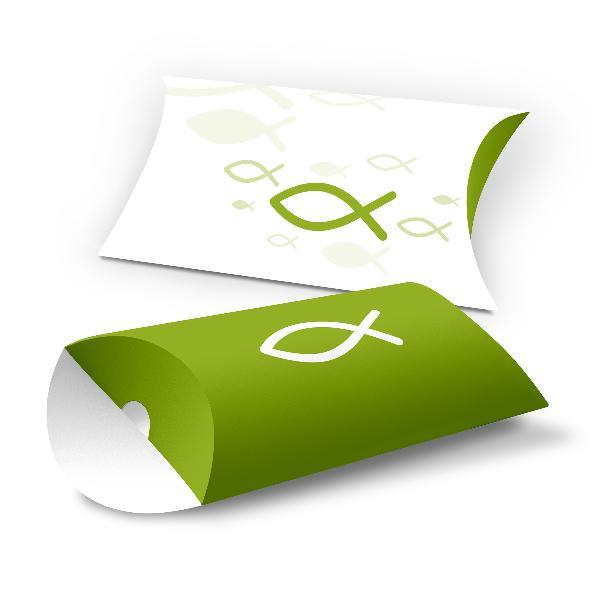 itenga 10x Geschenkverpackung Fisch grün Kissenverpack...