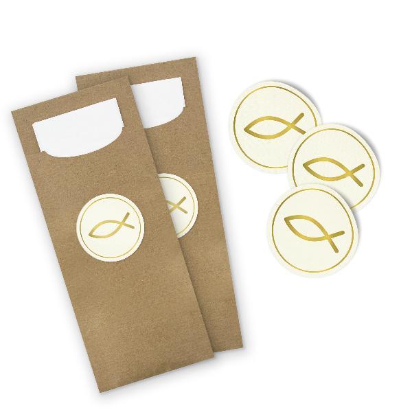 itenga 24x Bestecktaschen + Stickerbogen Fisch Gold (M...