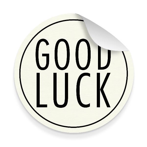 itenga Sticker 10 x Good Luck Strukturpapier Groß Rund 9...