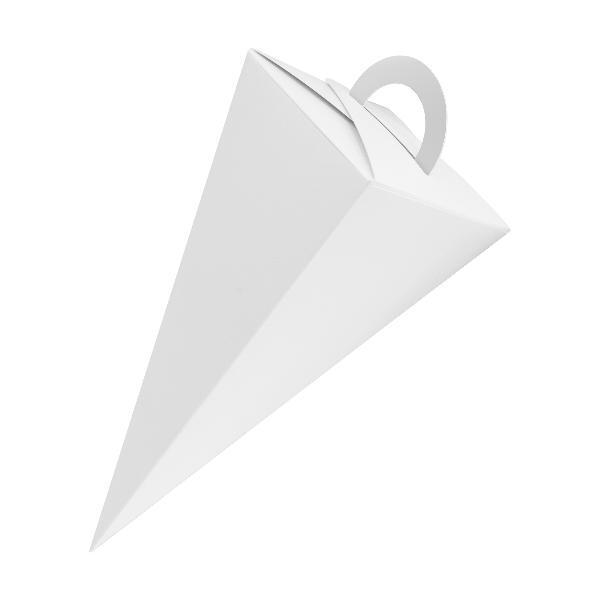 25x itenga Geschenktüte Schultüte mit Griff 14 cm, Weiß