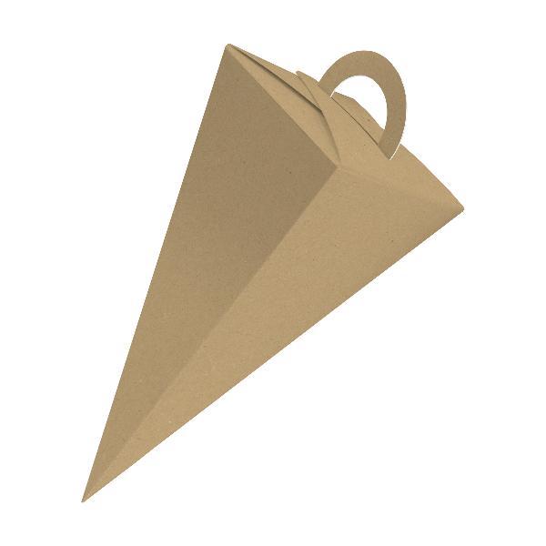 25x itenga Geschenktüte Schultüte mit Griff 21 cm, Braun