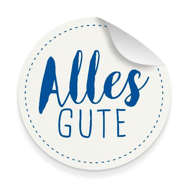 itenga 10x Aufkleber Sticker Alles Gute weiß blau 9,5 ...
