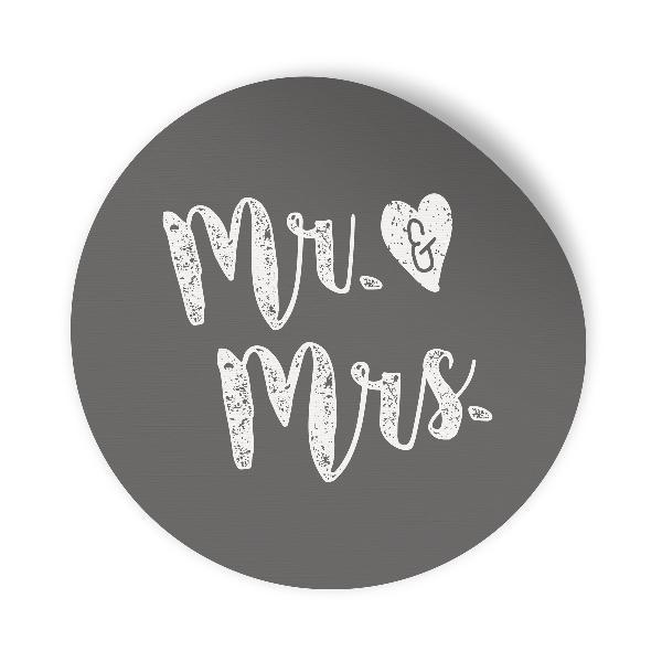 24x Sticker Aufkleber Mr. & Mrs. Grau / Weiß, Durchmesse...