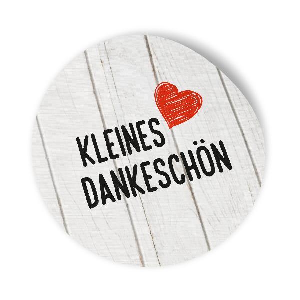 24x Sticker Aufkleber Kleines Dankeschön Holz, Durchmess...