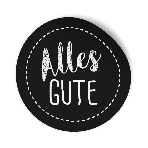 24x Sticker Aufkleber Alles Gute Schwarz / Weiß, Durchme...