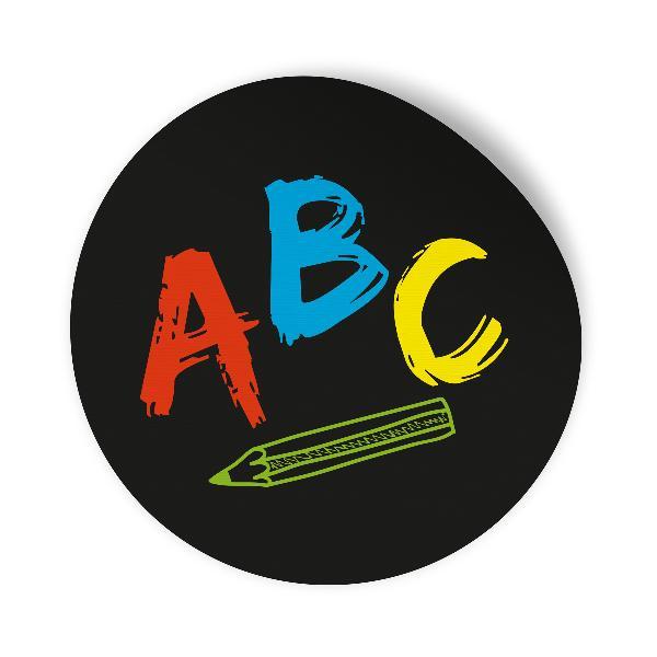 24x Sticker Aufkleber ABC Schwarz / Bunt, Durchmesser 2,...