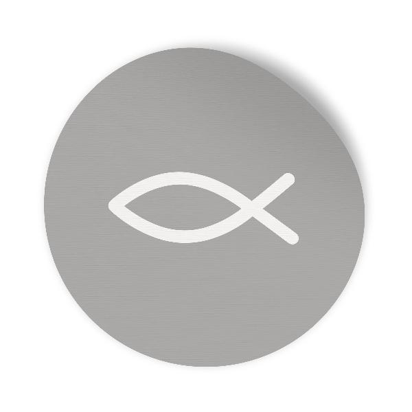 24x Sticker Aufkleber Fisch Grau / Weiß, Durchmesser 2,5...