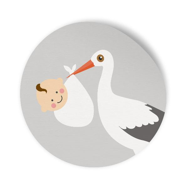 24x Sticker Aufkleber Storch Grau / Weiß, Durchmesser 2,...