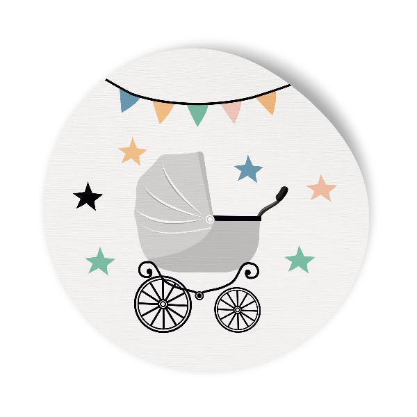 24x Sticker Aufkleber Kinderwagen Grau / Weiß, Durchmess...